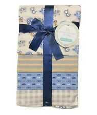 RECEIVING X4 - PETITE BOYS - OWL GLASSES BLUE - BLANKETS COTTON 4 PACK BABY