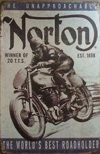 NORTON.  Vintage Rustic Retro Tin Metal Sign Man Cave, Shed & Bar-Home