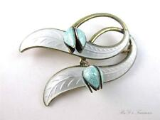 Vintage NORWAY STERLING Silver 925  Enamel Lily of the Valley  Brooch Pin