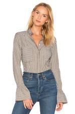 Frame Denim NEW Sz XS Striped Fitted Poplin Flare Cuff Button-Down Shirt