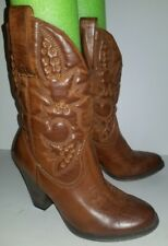 MIA girl brown faux leather tooled studded mid calf cowboy heel boots. 7
