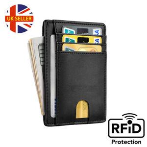 Men Anti-scan leather Slim ID Credit Card Holder RFID Blocking Thin Wallet UK