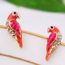Mini Cute Animal Red Bird Ear Studs Women's Charm Crystal Earrings Gifts Jewelry
