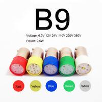 10Pcs B9 LED Bayonet Instrument Warning Light Bulb Lamp 6.3/24/110/220/380V 0.5W