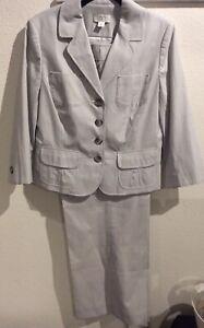 Ann Taylor Loft Women's Green White Stripes Wide Leg Career Pant Suit 10