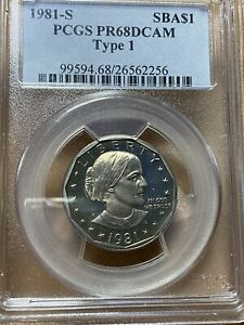1981-S Susan B Anthony Dollar Type1 Purple Tone PCGS PR68DCAM Rare Rainbow Color