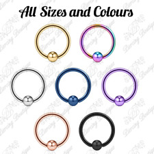 18g Steel Captive Bead Ring BCR Cartilage Ear Piercing Tragus Nipple Lip Hoop