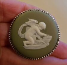 Vintage Wedgwood Cupid Cherub Brooch Pin  Green Jasperware 57 EG Excellent