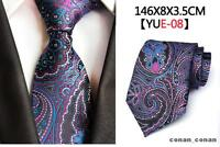 Purple Tie Blue, Black and White Paisley Patterned Handmade 100% Silk Necktie
