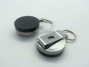 Round Retractable Key Reel Keyring - Pull Chain Recoil Cord Belt Clip Badge
