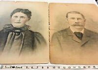 """Antique 1800's Great Grandpa & Grandma Portraits No Frames 16"""" x 20"""" SKU 035-029"""