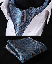 Hisdern Men Ascot Tie Navy Blue Paisley Scarf Pocket Square Set Fashion#RF404BS