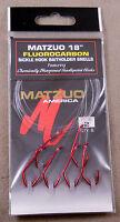 "1 Pack Of 6 Size #2 Red MATZUO 18"" Fluorocarbon Sickle Hook Baitholder Snells"