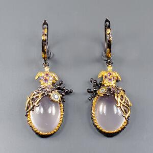 Handmade SET Rose Quartz Earrings Silver 925 Sterling   /E51934