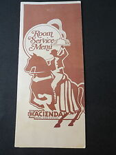 Hacienda Hotel & Casino Room Service Restaurant Menu Las Vegas RARE NY Steak $11