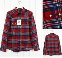NEW LEE 101 RIDER  SHIRT CHECKED  RED/BLUE FLANNEL LUMBERJACK SAW TOOTH S/M/L/XL