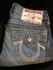 True Religion Rainbow Ricky Mens 32X33 Thick Stitched Dark Wash Denim Jeans