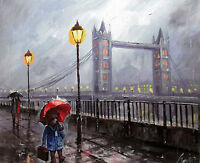 100%Hand-painted Art Oil Painting Landscape Animal Bear London 16*20inch Signed