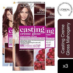3pk L'Oreal Paris Casting Creme Gloss Semi-Permanent Hair Dye, 550 Mahogany