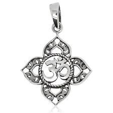 925 solid Sterling Silver Om/Aum in 4 gates Mandala Yoga pendant