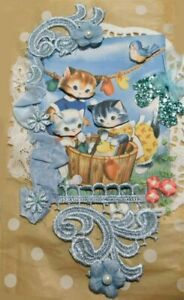 Kitty/Cat Vintage Junk journal 28 pages and many tags