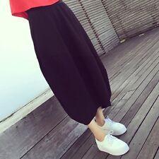 Fashion Women Bud Skirt Long Irregular Black Loose Casual Maxi Dress Midi Skirt