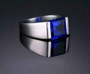 Solid 925 Sterling Silver Blue Sapphire Gemstone Statement Partywear Mens Ring