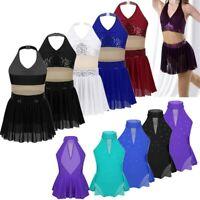 Halter Lyrical Dance Costume Sparkly Modern Dance Dress Girls Kids Dancewear