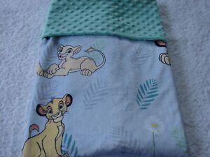 Lion King Grey Reversible Green  Minky Handmade Blanket