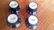 4 PCS Speed Knobs 2T2V Black LP SG Style Bell Top Hat Shape#TV78