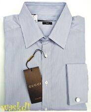GUCCI Mens 16/41 blue Striped GUCCI cufflinks cotton Fitted Shirt NWT Authentic!