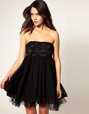 Mina Lace Bust Bandeau Rapture Chiffon Evening Dress BLACK UK 14-EU 42 rrp £65