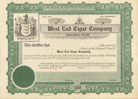 West End Cigar Company > Newark New Jersey stock certificate share