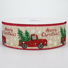 10 Yards ~ Vintage Red Truck Christmas Trees on Glittered Polyester Wired Ribbon