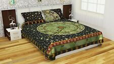 Indian Cotton Green Mandala Double Size Bed Quilt Cover Duvet Doona Cover Boho