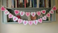 Personalised Christening Bunting Banner Pink, White Hearts
