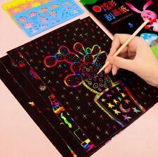 Magic Color Rainbow Scratch Art Paper Card Set with Graffiti Stencil DIY Art
