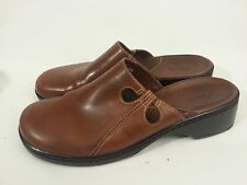 Clarks Chestnut Brown Smooth Leather Cut-Out Side Slide On Clog Womens Sz 10 M