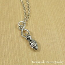 Silver Fertility Goddess Charm Necklace - Mother Earth Deity Pendant Jewelry NEW