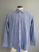 Bugatchi Uomo Blue Striped Mens Long Sleeve Button Down Shirt XLarge