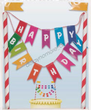 Circus Carnival Party Bunting Cake Topper Happy Birthday Decoration Red White