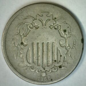 1886 Shield Nickel 5c US Coin Five Cents Circulated Good with Rays