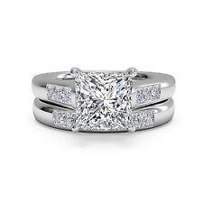 1.50ct Diamond Engagement Ring Set Bridal 14Kt White Gold Princess Cut Size 6 7