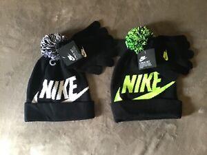 NIKE boys 2pc Cap & Gloves Sz 8/20 black or Volt NEW