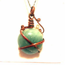 NWT Earth Element Pendant, green jade with copper
