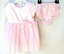 LITTLE ME SPECIAL OCCASION 2 pc Woven PINK FUR Top Dress w/Panty 12 MONTHS NWT