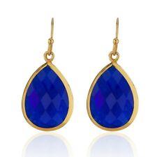 18K Gold-Plated Pear Shape Lapis Lazuli Gemstone Minimalist Dangle Earrings