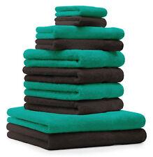 Betz Juego de 10 toallas CLASSIC 100% algodón marrón oscuro y verde esmeralda