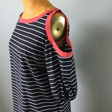 M60 Miss Sixty Womens Dress Black Striped Cold Shoulder Peasant Sleeve Sizer 12