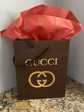 NEW GUCCI  Shopping Gift Bag Brown with GUCCI Tissue Paper Included
